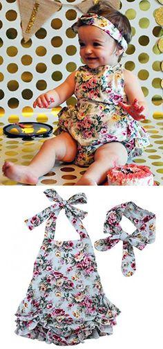 Newborn Baby Girls Halter Cotton Ruffles Romper Backless Sunsuit Jumpsuit Dress (12~18Months, Green)
