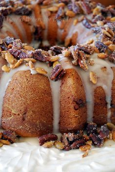 Cranberry-Apple-Pumpkin Bundt Cake With Maple Glaze and Sugared Pecans & Pepitas _ Recipe courtesy of Southern Living NOVEMBER 2012