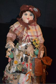 Old Doll Peddlar Peddler W/ MINIATURES Frozen Charlottes Jewelry & More