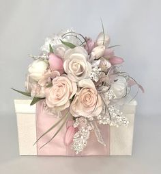 Pink Cream Baby Girl Gift Box Mothers Day Her Birthday PreWrapped Gift Box Pink Rose Pale Pinks Cream With Rhinestones Wedding Boxes, Wedding Cards, Wedding Gifts, Wedding Flowers, Flower Box Gift, Flower Boxes, Creative Gift Wrapping, Wrapping Ideas, Baby Girl Gifts