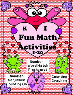 Color by NumberFind the NumberNumber-Number Word MatchCount OnNumber Order PuzzlesCount and RecordCount and GraphNumbers flash cards. Fun Math Activities, Valentine Activities, Holiday Activities, Teacher Resources, Teaching Kindergarten, Teaching Ideas, Teaching Reading, Hello Teacher, Number Words