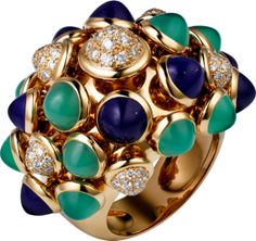 Sortija Paris Nouvelle Vague Oro amarillo, diamantes, lapislázuli, crisoprasa