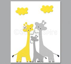 Yellow and grey giraffe nursery wall art, Nursery Art Print, 8x10,Kids Room Decor, Baby / Children Wall Art - giraffe family, baby giraffe