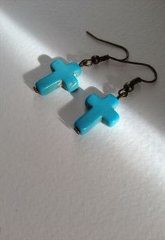 90's Turquoise Howlite Cross Earrings from ButtonBoutique