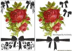 Vintage red roses with pretty bows on Craftsuprint - Add To Basket!