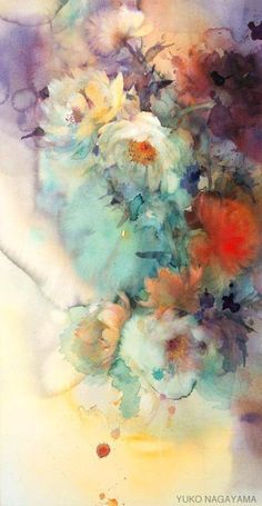 Yuko Nagayama. Watercolor artist.  Her work is fantastic; her style amazes me.  The blooms of water on the paper are wonderfully combined with more detail in the subject matter.  The combination of color is a joy!