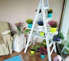porte plantes -diy-échelle-blanche-planches-bois-différentes-tailles Backyard Seating, Fire Pit Backyard, Cozy Backyard, Old Ladder, Vintage Ladder, Vegetable Garden Design, Plant Shelves, Home Hacks, Small Gardens