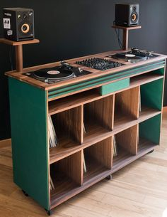 Home Music Rooms, Music Studio Room, Home Recording Studio Setup, Dj Stand, Dj Table, Dj Decks, Record Cabinet, Vinyl Room, Dj Setup