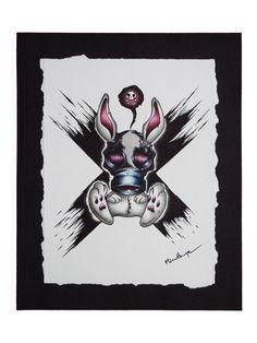 """""""Scary Rabbit"""" Dessin effectué au stylo et au marqueur , de 24*30 cm, collé sur une feuille rigide noire.  Dessin unique et original effectué par Misanthrope and Ass."""