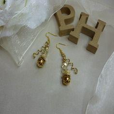 Boucles-d'oreilles en laiton et perles ref d 317
