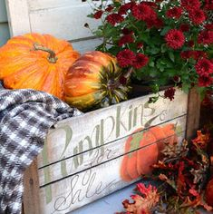 Fill this beautiful DIY Hand Painted Pumpkin Crate with an old blanket, pumpkins and mums for the perfect fall porch décor! Rustic Fall Decor, Fall Home Decor, Fall Decor Outdoor, Holiday Decor, Autumn Decorating, Porch Decorating, Decorating Ideas, Decor Ideas, Fall Diy