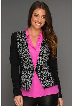 Rebecca Taylor - Leopard Knit Blazer (Grey/Black Combo) - Apparel $209.99 thestylecure.com
