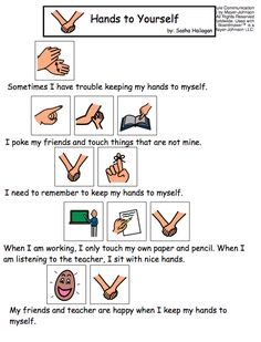Hands to Yourself - Visual Story for Kids with Autism. Repinned by SOS Inc. Resources @so siu ki Inc. Resources.
