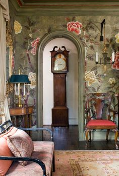 De Gournay - gorgeous wallpaper and painted mouldings