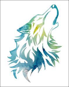 WOLF Watercolor Painting Archival Art Print by ImageDeSignStudio