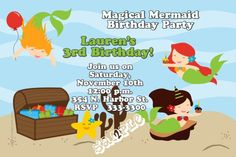 Mermaid Party Birthday Invitations - Any Wording - Get these invitations RIGHT NOW. Design yourself online, download and print IMMEDIATELY! Or choose my printing services. No software download is required. Free to try!
