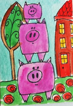 Pigs on top: Great ideas for guided drawing of pigs
