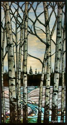 Winter forest stained glass window
