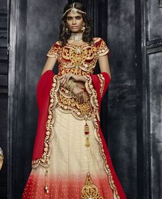 Buy Splendid Red & Beige Lehenga Choli online at  https://www.a1designerwear.com/splendid-red-beige-lehenga-choli  Price: $280.63 USD