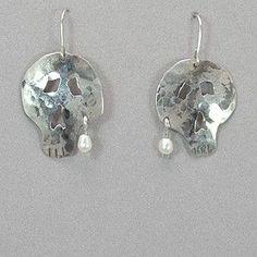 Jim Hayes Sterling Silver Skull Earrings