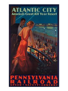ATLANTIC CITY Travel Poster Art Deco Travel by EncorePrintSociety