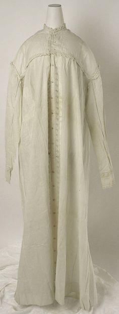 Nightgown    Date:      1850s  Culture:      American or European  Medium:      linen