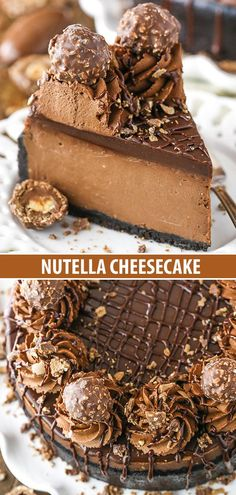 Nutella Cheesecake - rich, creamy and amazing! This Nutella Cheesecake is thick, creamy, rich and flat out amazing! It's baked in an Oreo crust and topped with Nutella ganache and I'm totally obsessed with it! Chocolate Cheesecake Recipes, Brownie Desserts, Easy Cheesecake Recipes, Oreo Cheesecake, Dessert Recipes, Toppings For Cheesecake, Best Chocolate Cheesecake, Christmas Cheesecake, Homemade Cheesecake