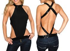 Sexy Black Backless Cool Flashing T Shirt