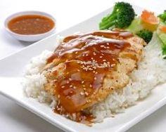 Poulet au miel et à la moutarde, riz et petits légumes