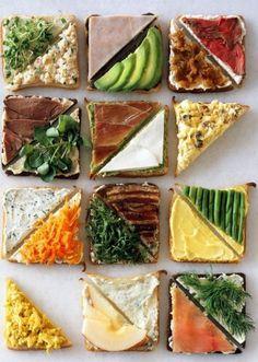 Healthy sandwich combos Tea Sandwiches, Healthy Sandwiches, Finger Sandwiches, Gourmet Sandwiches, Delicious Sandwiches, Snacks Für Party, Party Appetizers, Food Design, Design Ideas