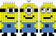 minions: - Guilaine G - Pint Pic Pearler Bead Patterns, Perler Patterns, Loom Patterns, Beading Patterns, Embroidery Patterns, Quilt Patterns, Cross Stitch Baby, Cross Stitch Charts, Cross Stitch Designs