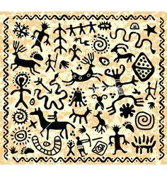 Illustration of vector ancient cave petroglyphs pattern vector art, clipart and stock vectors. Native Symbols, Native American Symbols, Ancient Symbols, Native Art, Ancient Art, Indian Symbols, Arte Tribal, Tribal Art, Stencil