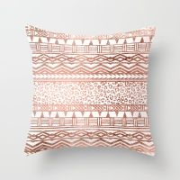 Modern rose gold leopard geometric aztec pattern Throw Pillow