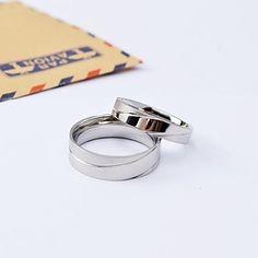 Silver High Fashion pulido anillos par de acero de titanio – EUR € 14.71