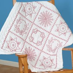 Stamped White Wall Or Lap Quilt 36 X36 -Sampler