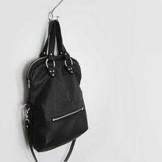 foldover tote  large leather bag  custom fold by stitchandswash, $225.00
