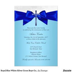 Royal Blue White Silver Cross Boys Communion 5x7 Paper Invitation Card