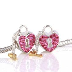 Swarovski Key to Your Heart Crystal Charm with Sterling Silver .925 Core - Pink - Breast Cancer Awareness
