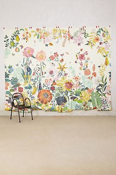 Zelle's Airstream nook-perfectly whimsical chic  Great Meadow Mural - anthropologie.com