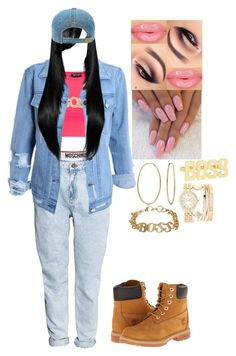 """""""90'S YAAASS"""" by usocrazygirl on Polyvore featuring Moschino, H&M, Topshop, Timberland, Bling Jewelry and Jessica Carlyle"""