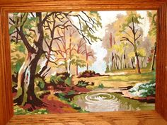 Paint by Number Land Scape, Woods, Wooden Trees, Maroon Bells, Pine Trees, Trickling Creek, Autumn Fall Day, Rocks 14H. $48.00, via Etsy.
