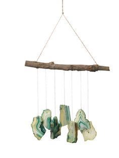 These agate wind chimes are a naturally beautiful work of art that make a lovely gift. Responds to a breeze with soothing and delicate tones. Diy Wind Chimes, Glass Wind Chimes, Vbs Crafts, Crafts For Teens, Teen Crafts, Boho Diy, Boho Decor, Handmade Windchimes, Ocean Jewelry