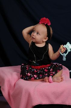Baby Girl Pink & Black Punk Rock Twirly Skirt by myellidesigns, $15.00
