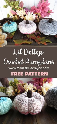 Crochet these modern pumpkins for fall decor with this free crochet pattern using Yarn Bee Lil Dollop yarn! im Herbst Crochet Pumpkin Pattern, Crochet Flower Patterns, Crochet Patterns For Beginners, Crochet Flowers, Holiday Crochet Patterns, Fall Patterns, Afghan Patterns, Easy Crochet Projects, Crochet Crafts