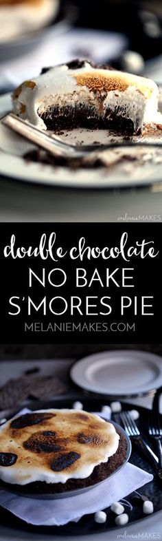 My six ingredient Double Chocolate No Bake S'mores Pie is sure to please kids, kids at heart and anyone and everyone in between and couldn't be easier to make! A homemade chocolate graham cracker crus (Homemade Chocolate Hearts) Tart Recipes, Best Dessert Recipes, Easy Desserts, Cookie Recipes, Delicious Desserts, Yummy Food, Yummy Yummy, Baked Smores, Smores Pie