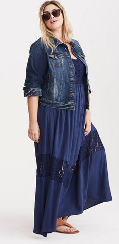 Plus Size Lace Inset Gauze Maxi Dress