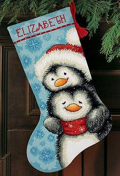 Dimensions Needlepoint Kit - Hugging Penguins Stocking -- Stoney Creek Online Store