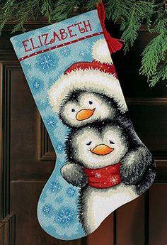 Dimensions Needlepoint Kit - Hugging Penguins Stocking -- Stoney Creek Online Store