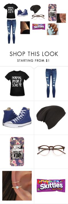 """""""Girl Outfit"""" by jtbae ❤ liked on Polyvore featuring J Brand, Converse and Wildfox"""