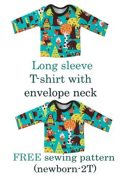FREE long sleeve T-shirt with envelope neck sewing pattern (Newborn to It's absolutely perfect for everyday use. In one of these t-shirts, your baby will be super comfy and therefor super happy. All you need is some material and you're ready to go! Toddler Sewing Patterns, Kids Clothes Patterns, Baby Dress Patterns, Sewing For Kids, Free Sewing, Clothing Patterns, Baby Born Clothes, Sewing Baby Clothes, T Shirt Sewing Pattern